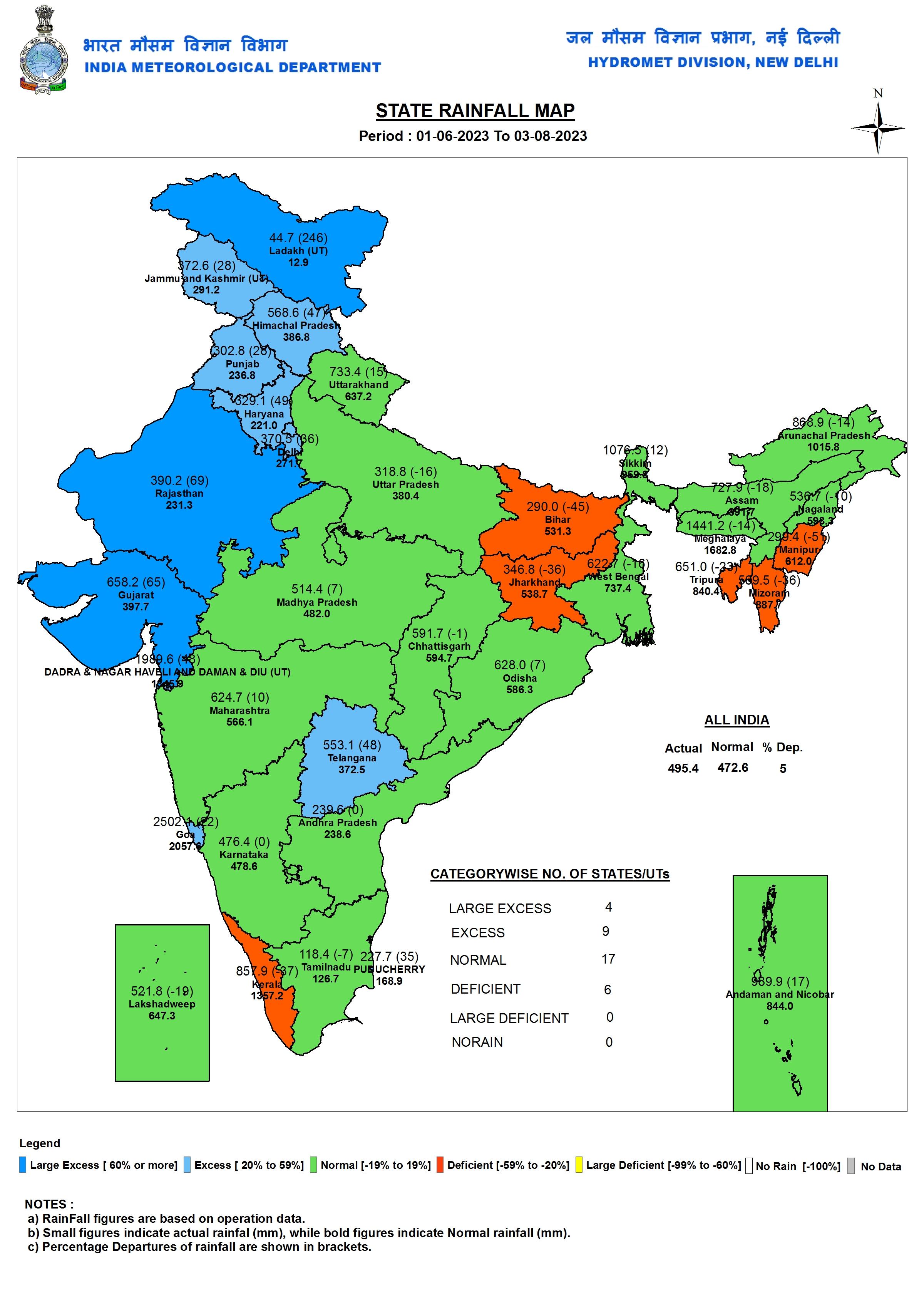 India cumulative state rainfall map